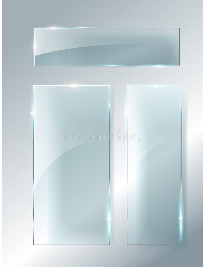 Ställde moderna genomskinliga glass plattor in för vektor på prövkopiabakgrund royaltyfri illustrationer