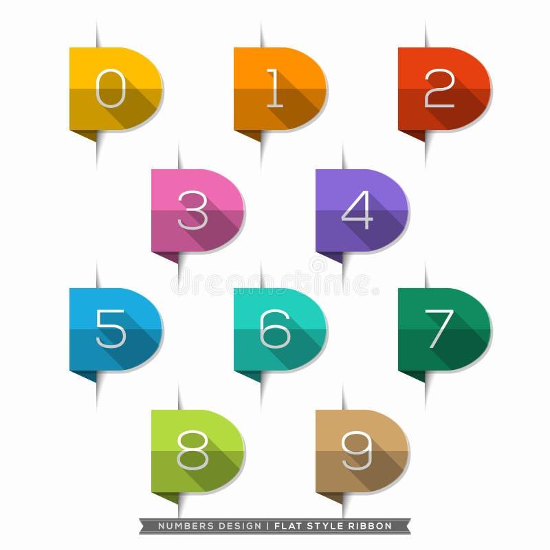 0-9 ställde numret in i symboler för lägenhet för skugga för bokmärkeetikett långa royaltyfri illustrationer