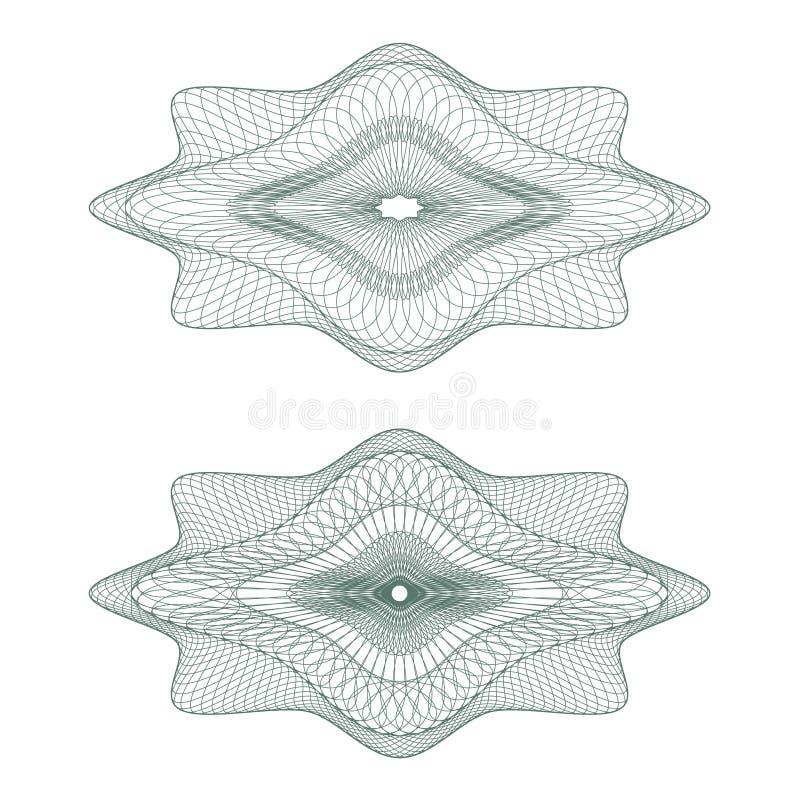 ställde ovala rosettes in för guilloche vektorn stock illustrationer