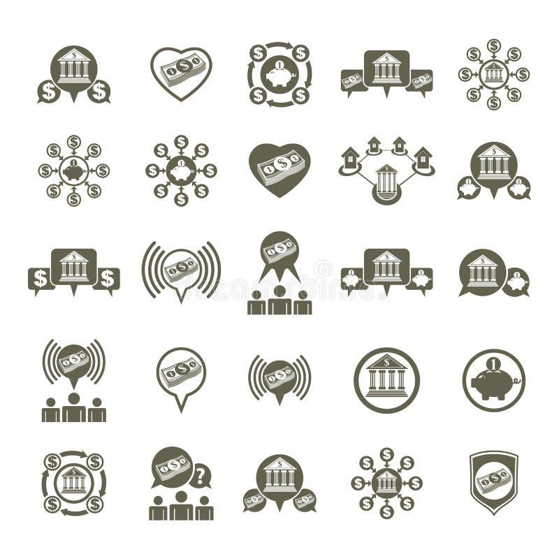 Ställde ovanliga symboler in för bank- och pengartemavektor, det finansiella temat vektor illustrationer