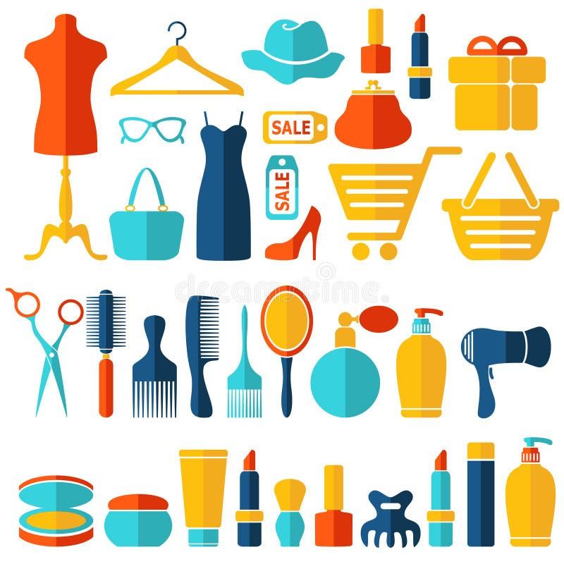 Ställde plana symboler in för mode, för försäljning och för shopping stock illustrationer