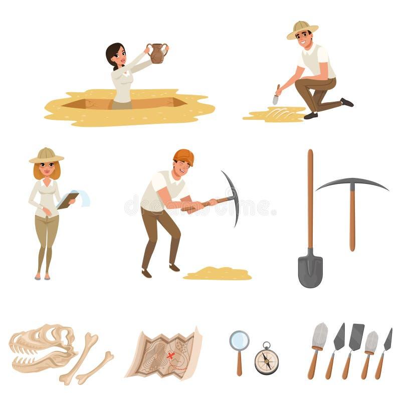 Ställde plana symboler in för tecknad film med hjälpmedel för arkeologiska utgrävningar, dinosaurieskelett och folk-arkeologer in vektor illustrationer