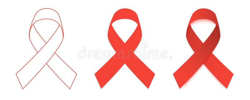 ställde röda band in för illustration vektorn Världen BISTÅR dag Plan design vektor illustrationer