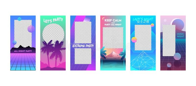 Ställde redigerbara mallar in för sommarsemester i Vaporwave stil Moderna unika Cyberpank designbakgrunder för socialt massmedia stock illustrationer