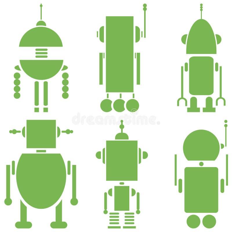 Ställde retro robotar in för vanlig tappning 2 symboler i gräsplanuppsättning av 6 (ställ in A), royaltyfri illustrationer