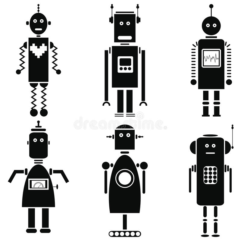 Ställde retro robotsymboler in för tappning i svartvit uppsättning av 6 royaltyfri illustrationer