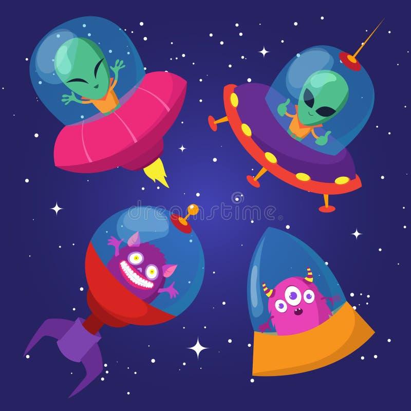 Ställde roliga främlingar in för tecknad film med ufo i stjärnklar himmelvektor för and stock illustrationer
