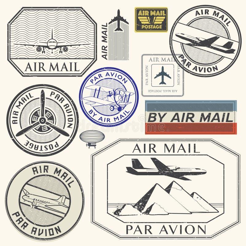 Ställde rubber färgpulverstämplar in för Grunge med plan textflygpost royaltyfri illustrationer