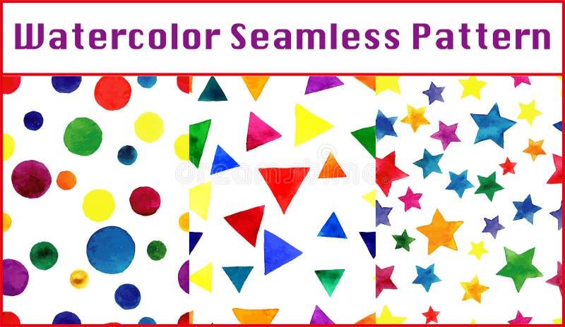Ställde sömlösa modeller in för vattenfärg med färgrika trianglar, cirkel royaltyfri illustrationer