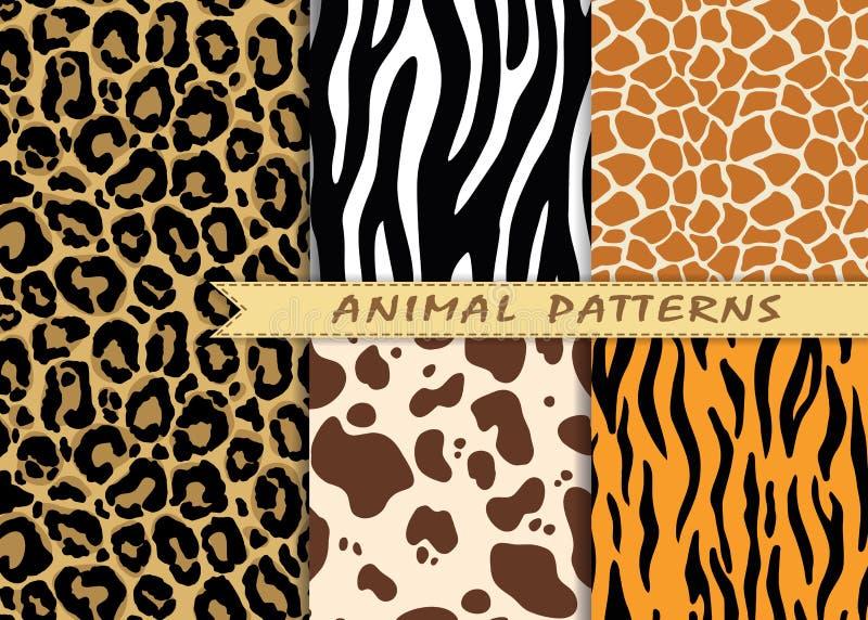 Ställde sömlösa modeller in för vektor med textur för djur hud upprepa vektor illustrationer