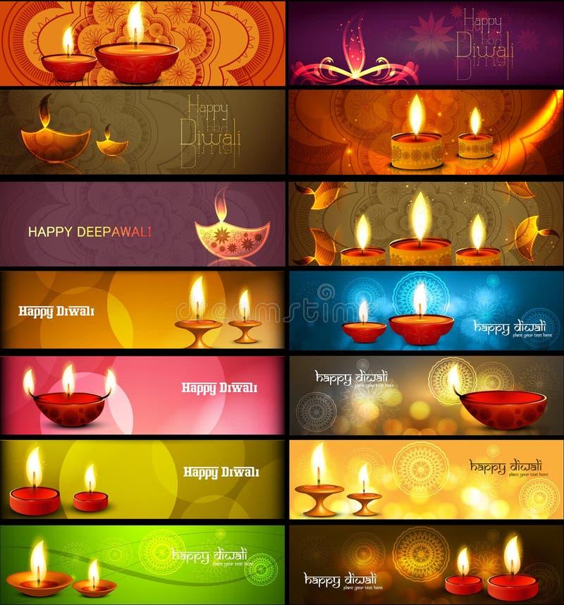 Ställde stilfulla ljusa färgrika samlingstitelrader in för lycklig diwali royaltyfri illustrationer