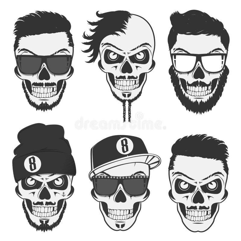 Ställde stilfulla skallar in för tappning för emblem, logo, tatuering, etiketter och design royaltyfri illustrationer
