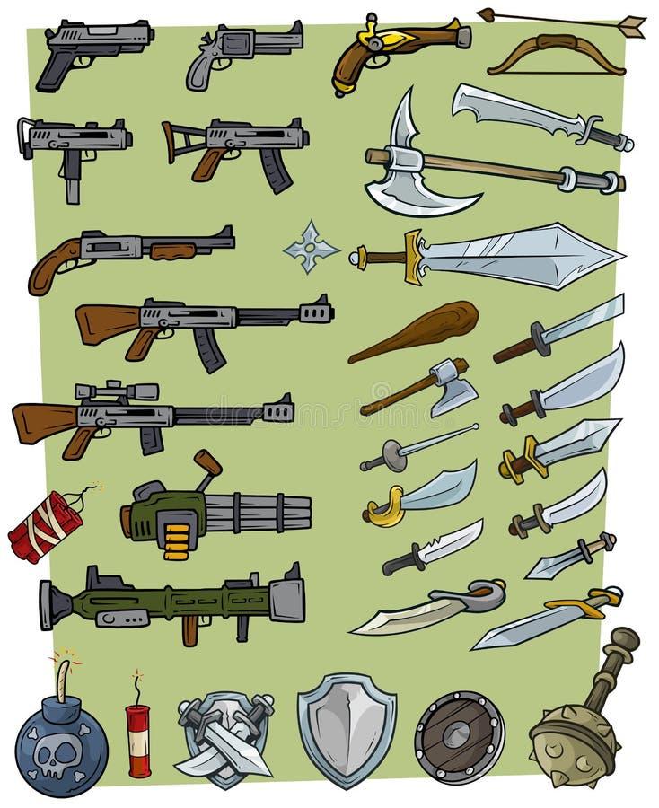 Ställde stora vapen för tecknad film och modiga symboler in för sprängmedel stock illustrationer
