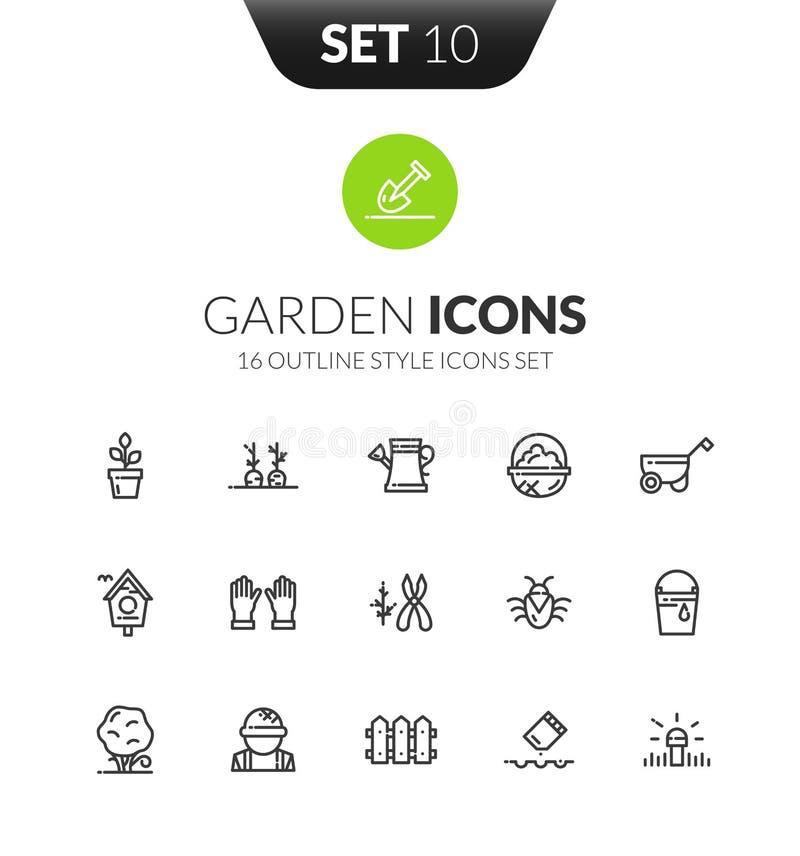 Ställde svarta symboler in för översikt i tunn stil för modern design vektor illustrationer