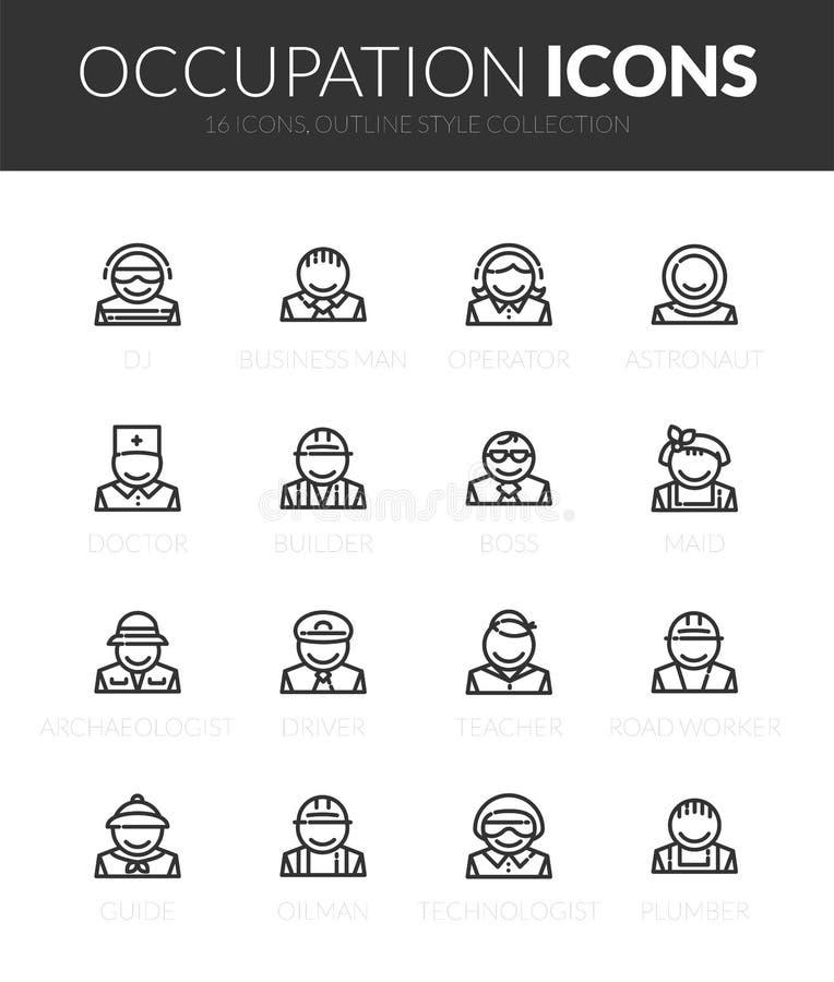Ställde svarta symboler in för översikt i tunn stil för modern design stock illustrationer