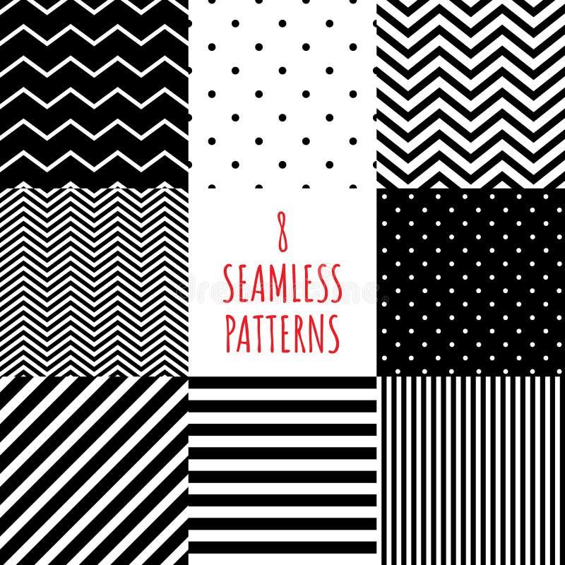 ställde svartvit geometrisk modell in 8 enkel utsmyckad färgmonokrom, den sömlösa repeatable tegelplattan för geometri för textil royaltyfri illustrationer