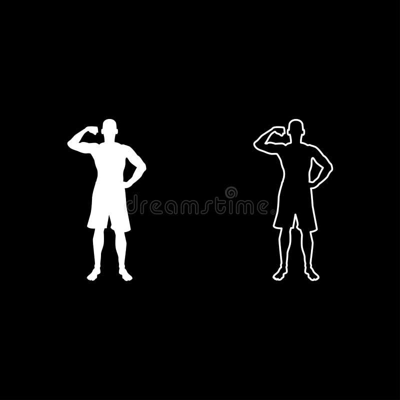 Ställde symbolen in för den främre sikten för konturn för begreppet för sporten för bodybuilding för muskler för kroppsbyggarevis vektor illustrationer