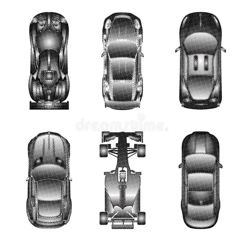 Ställde symboler in för bästa sikt för sport och för tävlings- bilar vektor illustrationer