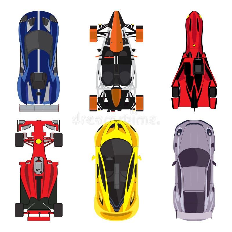 Ställde symboler in för bästa sikt för sport och för tävlings- bilar på vit bakgrund också vektor för coreldrawillustration royaltyfri illustrationer