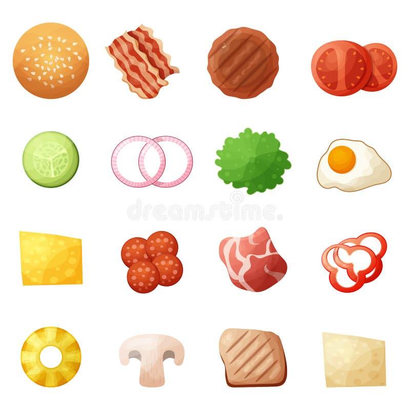 Ställde symboler in för bästa sikt för hamburgareingredienser, tecknad filmstil stock illustrationer