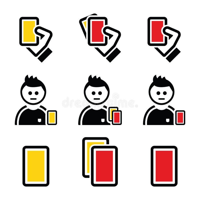 Ställde symboler in för gult och rött kort för fotboll eller för fotboll royaltyfri illustrationer