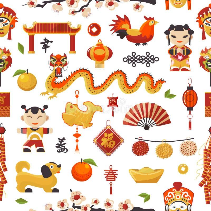 Ställde symboler in Kina för det nya året dekorativ ferie Kinesiska traditionella symboler och objektdrake, hund, tändare och ber vektor illustrationer