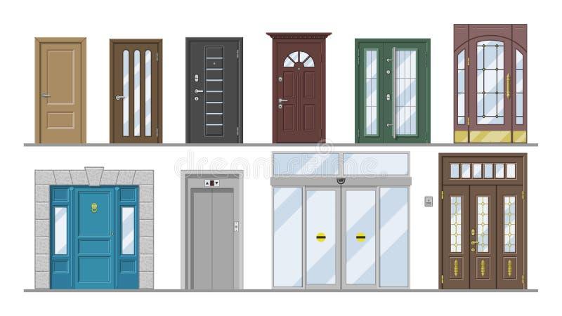Ställde tillträdeet för elevatorn för den främre ingången för dörrvektordörröppningen eller illustrationen in för inomhus hus för stock illustrationer