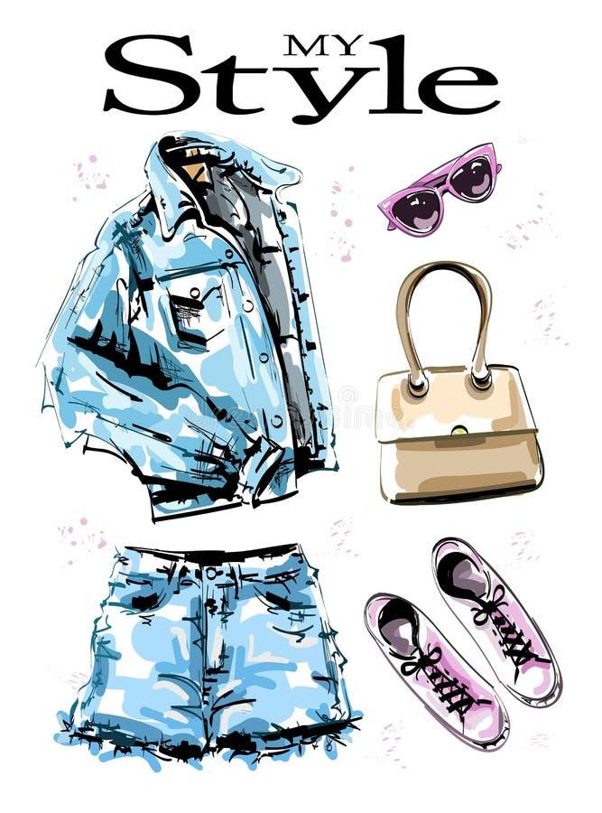Ställde utdragen stilfull kläder in för hand med den jeansomslaget, kortslutningar, påsen, skor och solglasögon Modedräkt Kvinnli vektor illustrationer