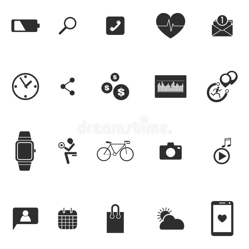 Ställde wearable teknologisymboler in för smart klocka vektorillustrationen royaltyfri illustrationer