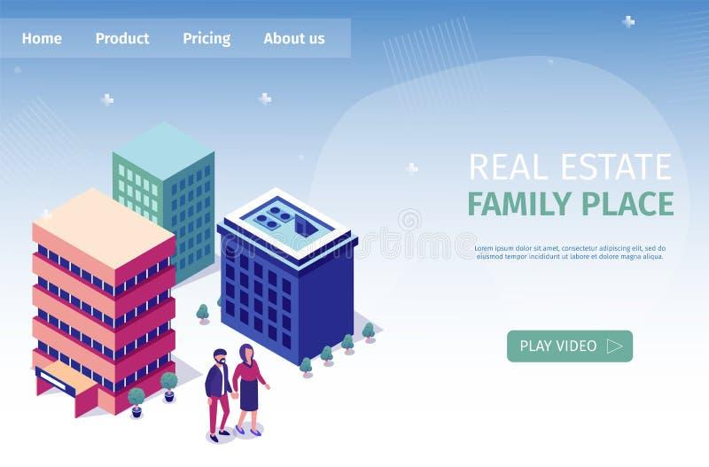 Ställe 3d för banerinskriftReal Estate familj stock illustrationer