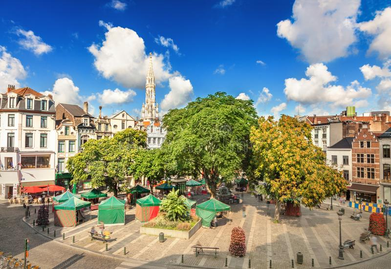 Ställe de l `-marknadsplats i Bryssel arkivfoton