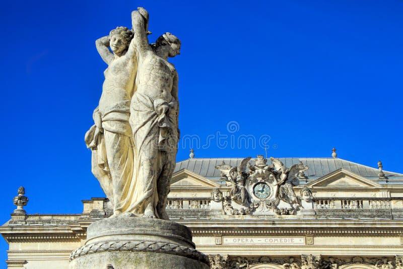 Ställe de la Comedie - teaterfyrkant av Montpellier royaltyfri fotografi