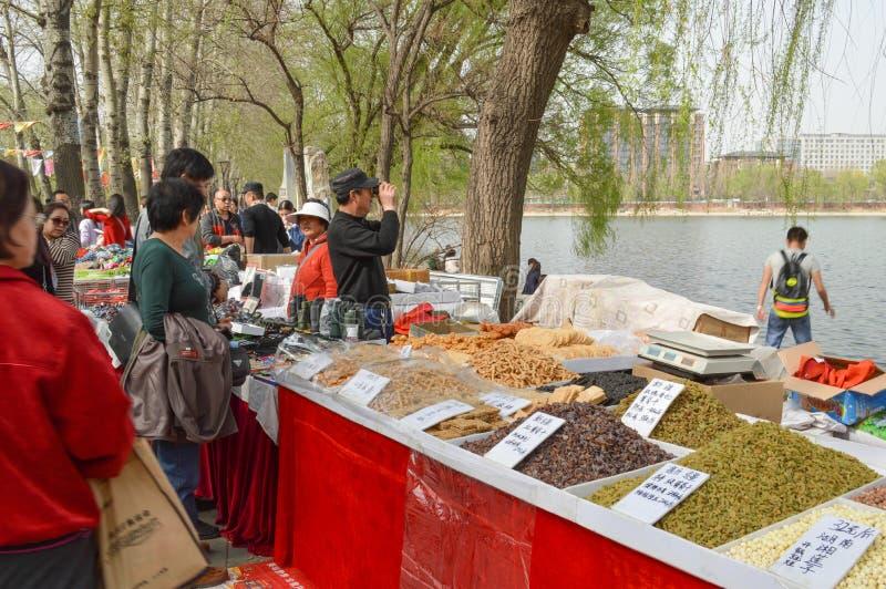 Ställe, die trockenes Lebensmittel verkaufen stockbild