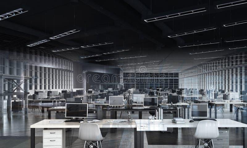 Ställe för öppet utrymmekontorsarbete arkivfoton