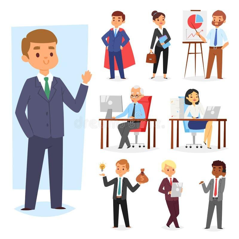 Ställe för arbete för affärsmanvektorfolk och affärsarbetare eller person som i regeringsställning arbetar på bärbara datorn på c vektor illustrationer