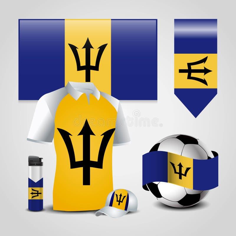 Ställe för Barbados landsflagga på T-tröja, tändaren, fotbollboll, fotboll och sporthatten royaltyfri illustrationer
