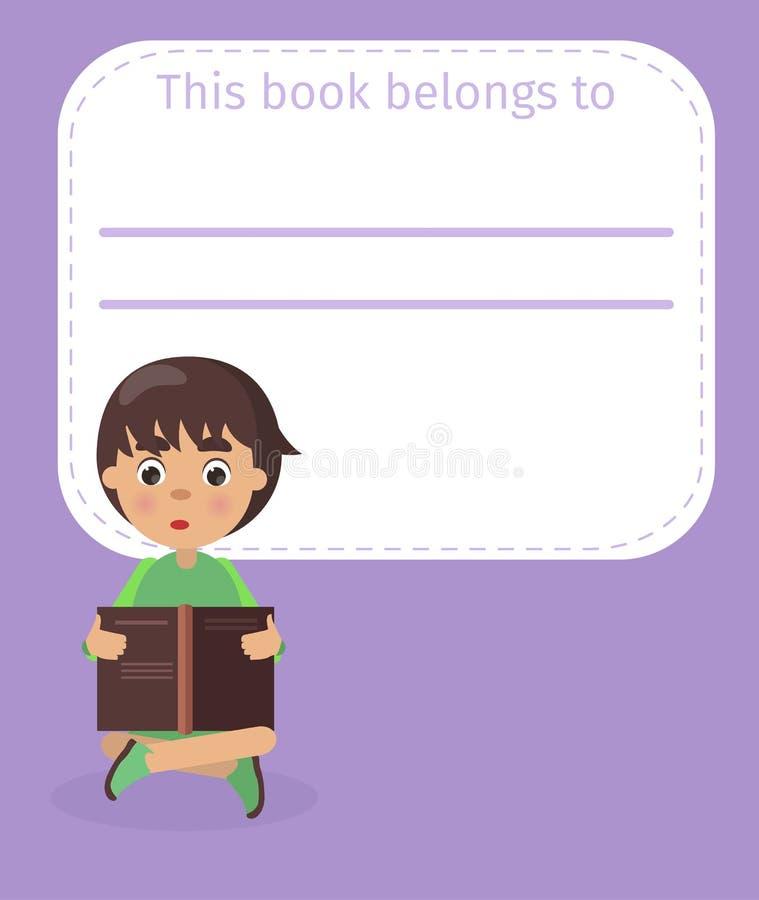 Ställe för bokägarenamn och pojkeillustration royaltyfri illustrationer