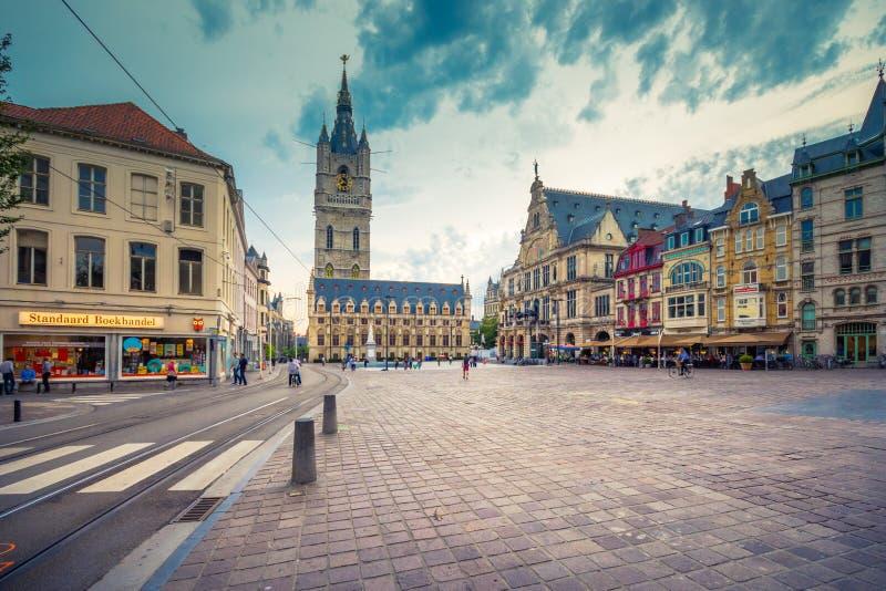 Ställe för gammalt centrum för Ghent ` s sceniskt - Ghent, Belgien royaltyfria bilder