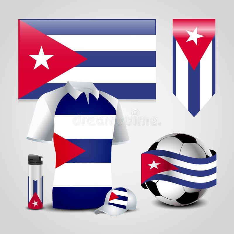 Ställe för Kubalandsflagga på T-tröja, tändaren, fotbollboll, fotboll och sporthatten vektor illustrationer