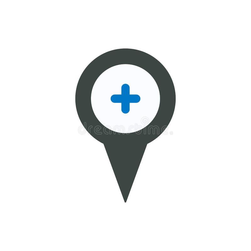 Ställe för lägemarkörstift plus pekarepositionssymbol royaltyfri illustrationer