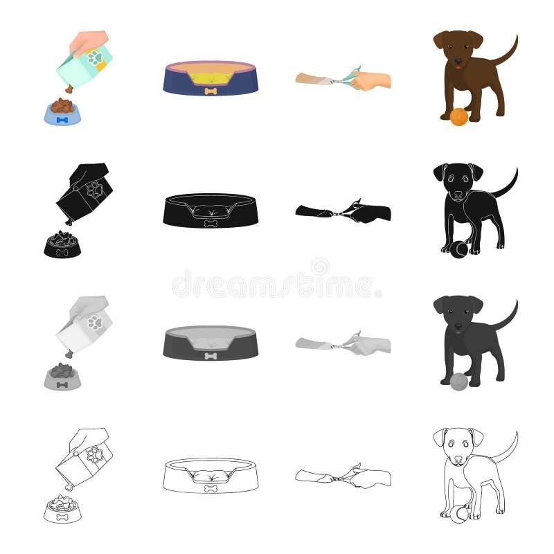 Ställe, sömn, hund och annan rengöringsduksymbol i tecknad filmstil lek utbildning, hundsymboler i uppsättningsamling vektor illustrationer