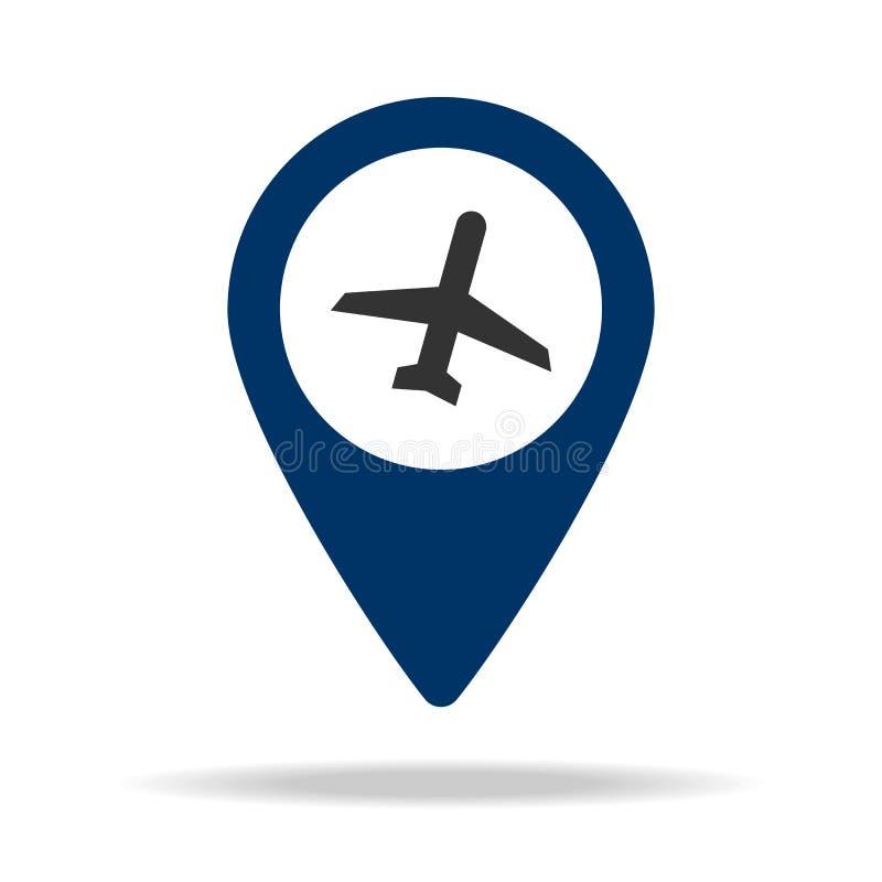 ställeflygplats i symbol för blåttöversiktsstift Beståndsdel av översiktspunkt för mobila begrepps- och rengöringsdukapps Symbol  vektor illustrationer