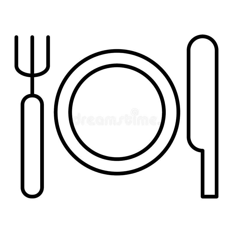 Ställeinställning med den tunna linjen symbol för platta, för kniv och för gaffel Bestickvektorillustration som isoleras på vit T royaltyfri illustrationer
