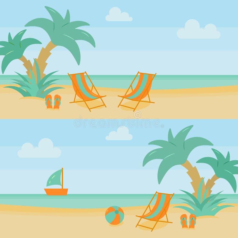 Ställer horisontalbaner in för sommarstrandsemester med vardagsrummet, och ferietillbehören på sand med palmträd nära bevattnar royaltyfri illustrationer