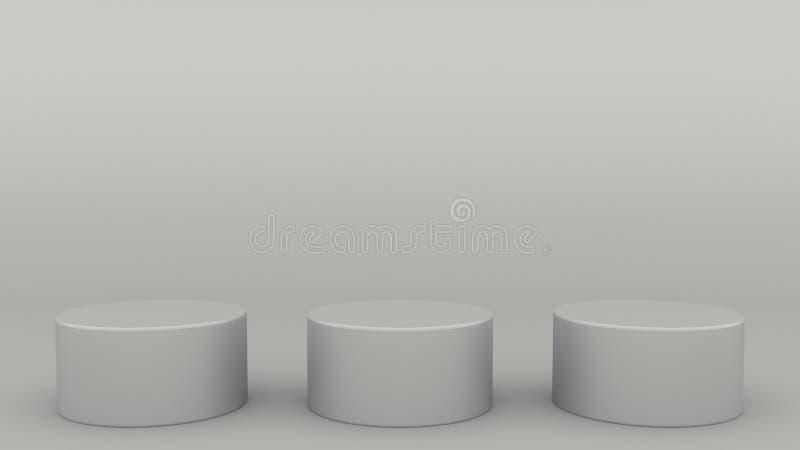 St?ller ut den gr?a platsen minsta 3d som f?r tre cylindriska podier upp framf?r modern minimalistic ?tl?je, den tomma mallen som royaltyfri illustrationer
