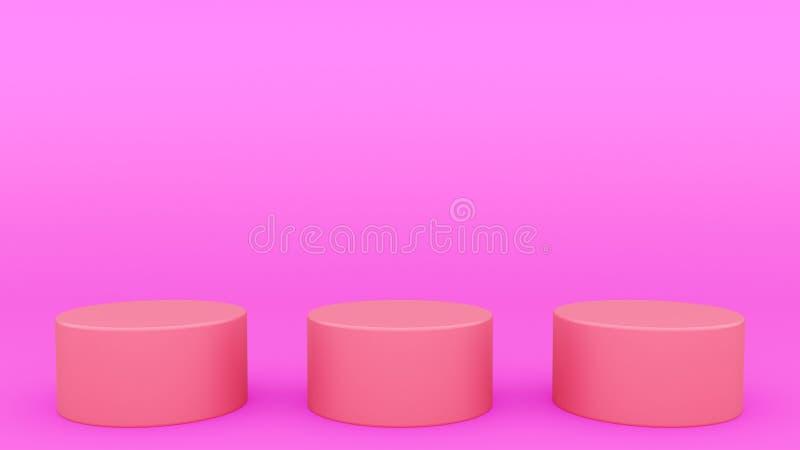 Ställer ut den purpurfärgade platsen minsta 3d som för tre cylindriska podier upp framför modern minimalistic åtlöje, den tomma m royaltyfri illustrationer