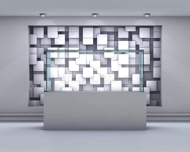 ställer ut tomt exponeringsglas 3d med strålkastare och den kaotiska abstrakta gröngölingen stock illustrationer