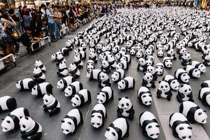 Stället för många pandaskulpturer på golvet är en konstutställning med åhörare, och besökare tar foto i Bangkok, Thailand royaltyfria foton