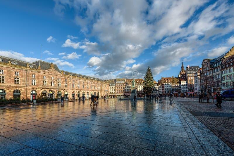 Stället Kleber är den centrala fyrkanten av Strasbourg arkivbild