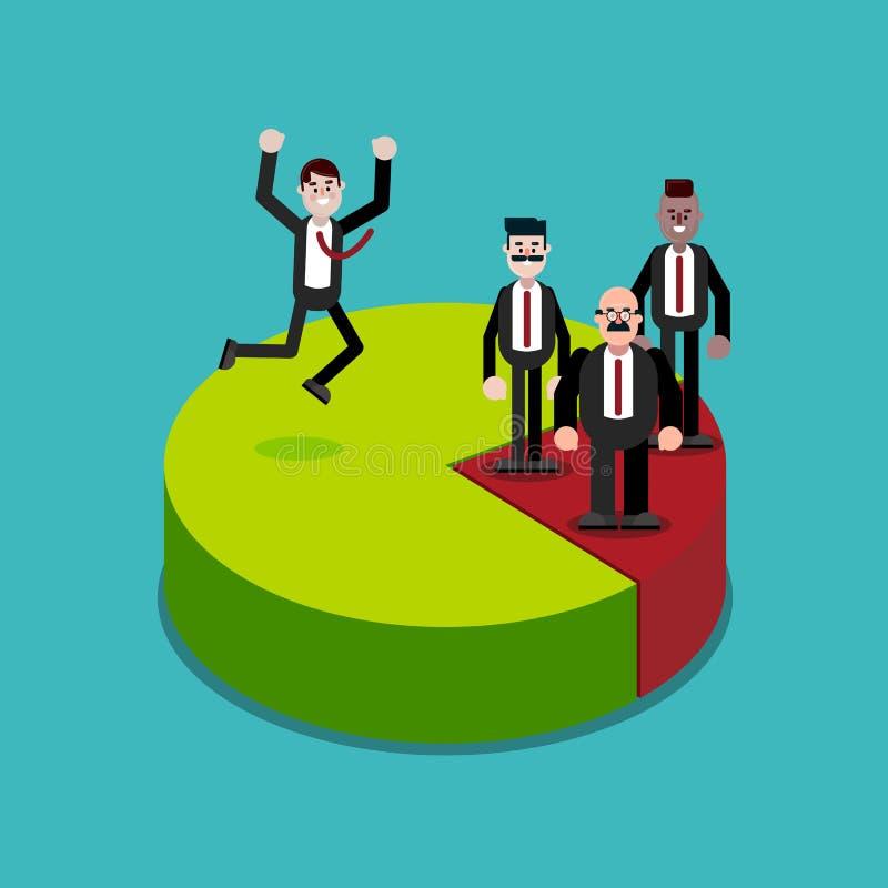 Ställning för affärsfolk på framgång för pajdiagram stock illustrationer